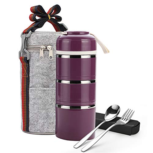 (Stackable Lunch Box,ArderLive Portable Stainless Steel Insulated Lunch Box with Lunch Bag & Portable utensil, BPA Free Leakproof Food Storage Container. (3-purple))