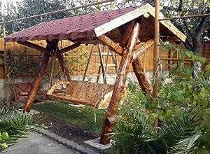 Casa Padrino columpios de jardín rústico de las señoras porche Swing Mod S1–Madera maciza de roble–madera sólida