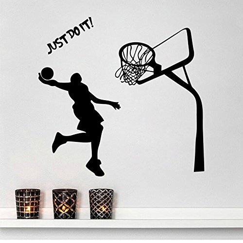Inspiration Wall Sticker Quotes Just Do It Removable Wall Decor Decals Basketball for Kids Boys Children Living Room Bedroom Nursery School Office,16.9 x 28.3 Inch