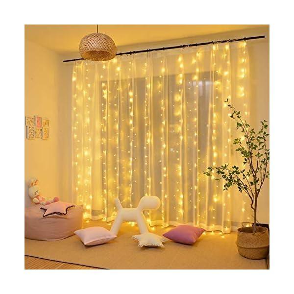 CREASHINE Tenda Luci LED 3 x 3 m, Tenda Luminosa Natale Esterno/Interno, Luci di Natale da Esterno con 8 Modalità di Illuminazione Natale Decorazioni Casa,Camera da Letto,Giardino 2 spesavip