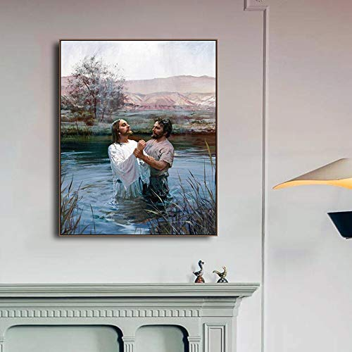 JFSJDF Baptism of Jesus Print Canvas Painting Art Print Home Decor Canvas Wall Art Painting Picture for Living Room Church