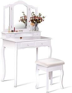 Giantex Bathroom Vanity Set Tri-Folding Mirror W/Bench 4 Drawer Dressing Table Make-up Vanity Table Set (White)