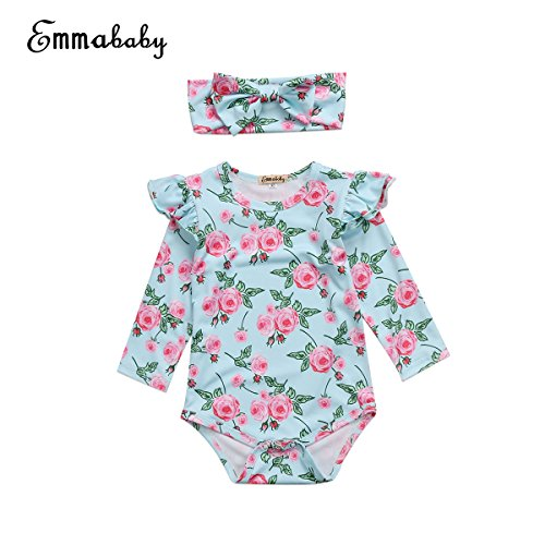 Floral Long Sleeve Onesie (Baby Girls Floral Long Sleeve Botton Romper Jumpsuit with Headband Cute Infant Bodysuit Clothes (0~6M, Green))