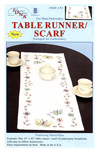 Jack Dempsey Stamped Table Runner/Scarf, 15-Inch by 42-Inch, Fluttering Butterflies