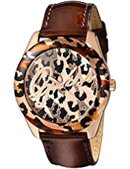 GUESS Womens U0455L3 Iconic Brown Animal Print Watch with Rose Gold-Tone Accents