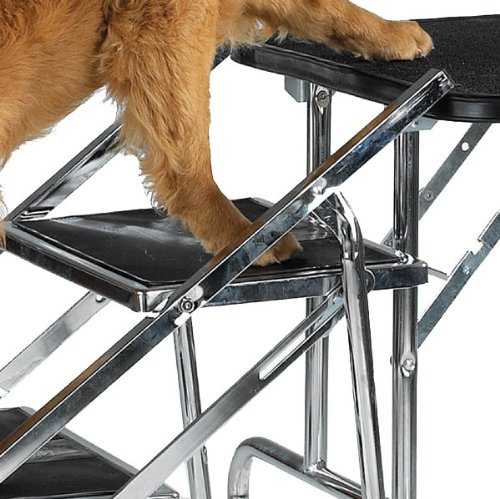 Master Equipment Steel Portable Pet Stairs – Sturdy Fold Flat Stairs Help Older Dogs Climb onto Grooming Tables