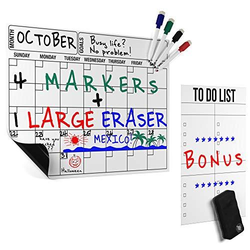 Magnetic Dry Erase Calendar Board - Monthly Refrigerator Calendar - 4 Colored Magnetic Markers 1 Eraser With Magnet For A Complete Set