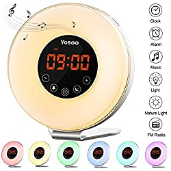 Wake Up Light Alarm Clock, Yosoo Alarm Clock for Heavy Sleepers, Sunrise/Sunset Simulation, 6 Nature Sounds, 7 Colors LED Night Light with Smart Snooze Function, Touch Control and USB Rechargeable