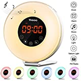 Sunrise Alarm Clock, Yosoo Wake Up Light Alarm Clock with Sunrise and Sunset Simulation, 6 Nature Sounds, 7 Colors LED Night Light, Touch Control and USB Rechargeable for Heavy Sleepers