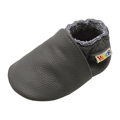 (Yalion Baby Boys Girls Shoes Crawling Slipper Toddler Infant Soft Leather First Walking Moccs(Grey,0-6 Months))