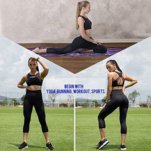UURUN High Waist Yoga Pants Capri Workout Running Leggings with Pockets - Non-See-Through Fabric 5