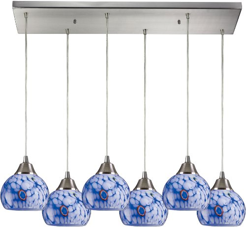 Elk 101-6RC-BL 30 by 9-Inch Mela 6-Light Pendant with Starburst Blue Glass Shade, Satin Nickel - Satin Mela
