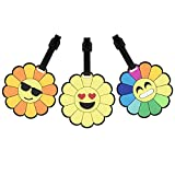Cute Luggage Tags for Kids Student Carry On Travel Suitcase Baggage Personalized Bag Label Identifier w/ Emoji Stickers