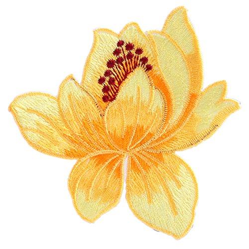 Hunulu Lotus Flower Embroidered Iron-On Patch Applique Motif Garment Decor Craft (6#) (Cute Halloween Costumes Tumblr)