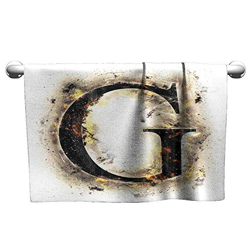 Jiahong Pan Towel Letter G,Abstract Blaze Alphabet Design Fire Flame Burnt Capital Symbol Paper Effect,Tan Black Yellow Decorative Towels Size:W27.5 xL14