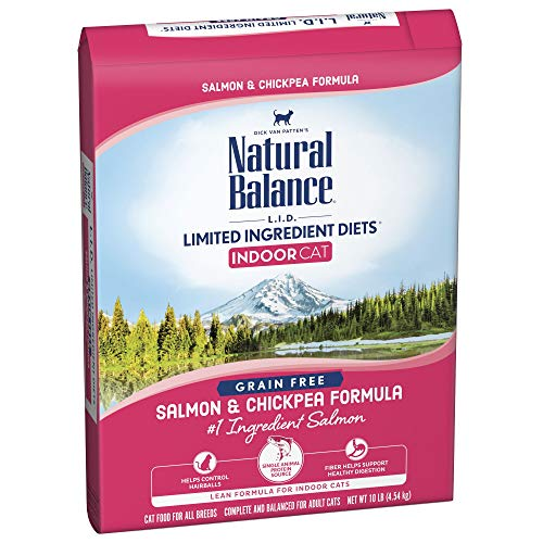 Natural Balance Limited Ingredient Diets Dry Cat Food for Indoor Cats, Salmon & Chickpea (1 Pack), 10 lb (Best Natural Cat Food For Indoor Cats)