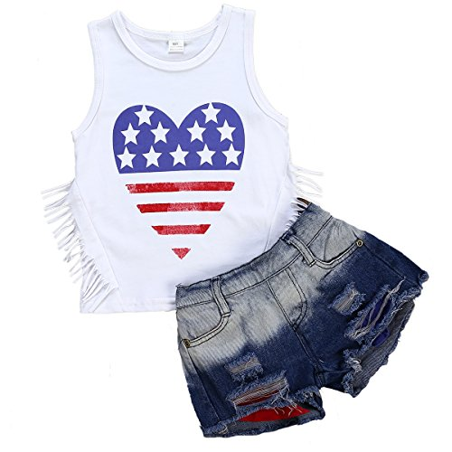 2Pcs/Set Toddler Kids Baby Girls Sleeveless Tassels Tops T Shirt+Ripped Denim Shorts Summer Clothes Outfits 3T