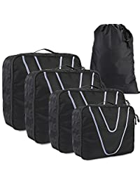 HOMFA Travel Packing Organizer 230D Nylon Durable Clothes Storage Bags 4 Piece Set with 1 Shoe Bag