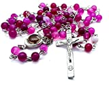 Handmade Rosary Purple Pink Matte Stone Beads Necklace Miraculous Medal and Catholic Jesus Cross Crucifix