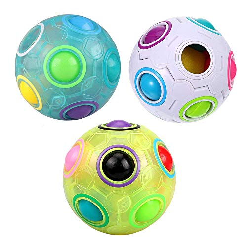 (3Pcs Rainbow Fidget Ball Intelligence Magic Rainbow Ball Pop 3D Puzzle Speed Cube Ball Stress Reliever Fidget Cube Toys Football Style Brain Teasers Color-Matching Sensory Play Ball for Adult Kids)