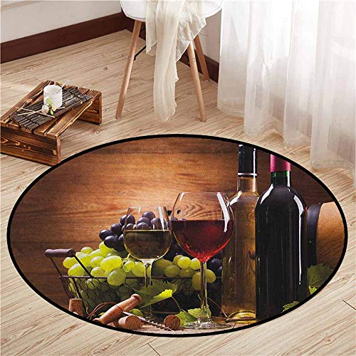 Round Carpets,Wine,Glasses of Red and White Wine Served with Grapes French Gourmet Tasting,Super Absorbs Mud,4'11