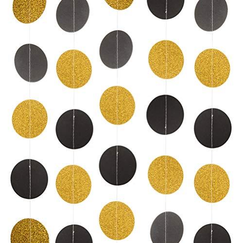 Black and Gold Paper Garland Circle Dots Bunting Streamer Hanging Decorations, 2.5