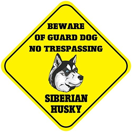 Siberian Husky Beware of Guard Dog No Trespassing Crossing Novelty SignVinyl Sticker Decal 8