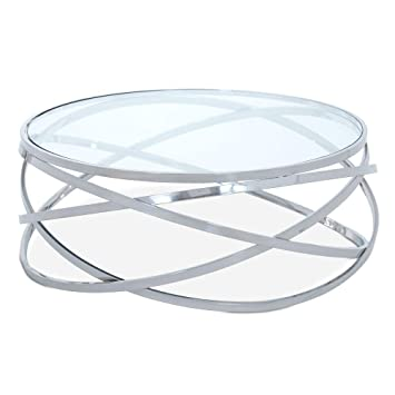 Homy Couchtisch Rund 106cm Glas Metall Tischplatte Klarglas
