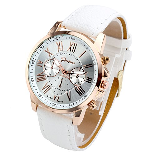 Top+Plaza+Fashion+Women%27s+Analog+Watch%2C+PU+Leather+Band+Rose+Gold+Tone+-+White