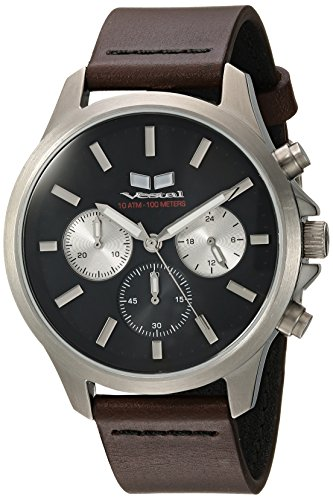 Vestal 'Heirloom Chrono' Quartz Stainless Steel and Leather Dress Watch, Color:Brown (Model: HEI39CL04.DBBK)