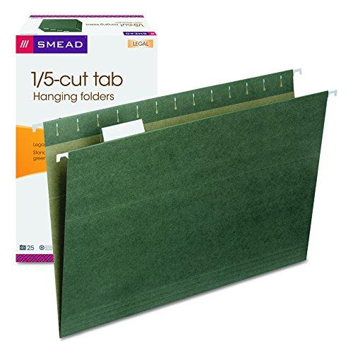- Smead Hanging File Folder with Tab, 1/5- Cut Adjustable Tab, Legal Size, Standard Green, 25 per Box (64155)