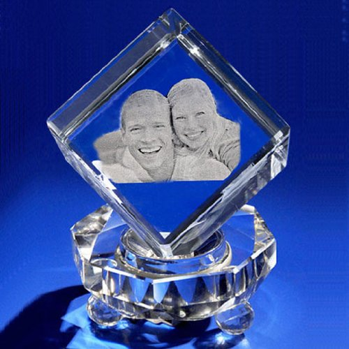 3D Crystal Photo Cube Gift Set, Custom Laser Engraving Crystal, Picture in Glass Jewel Cube by Goodcount A1809 (Large) (Photo Crystal compare prices)