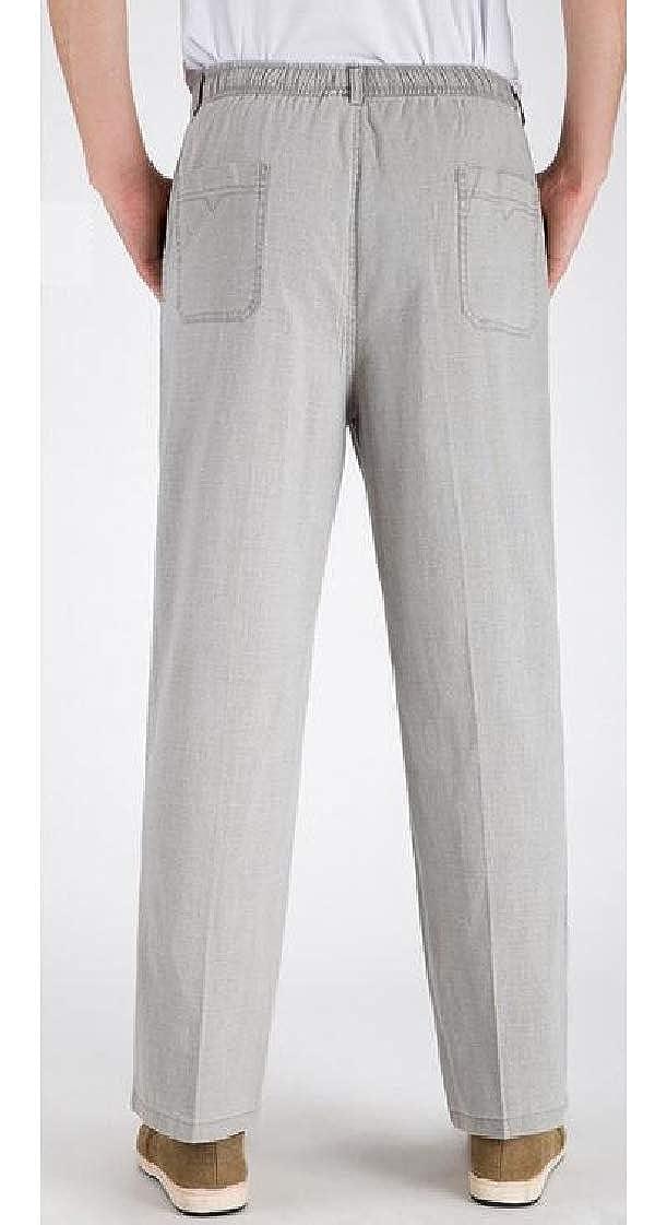 Pandapang Men Breathable Comfortable Straight Fit Elastic Waist Pants Trousers