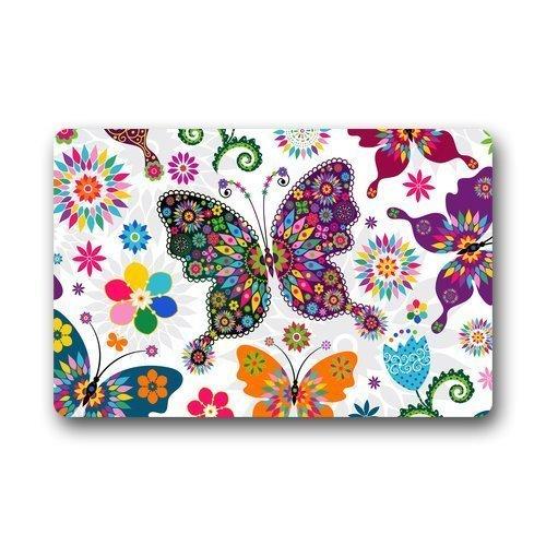 Fun Qiaoya Custom Butterfly Animal Door Mats Cover 23.6x15.7 inches/60 x 40cm Non-Slip Machine Washable Outdoor Indoor Bathroom Kitchen Decor Rug Mat -