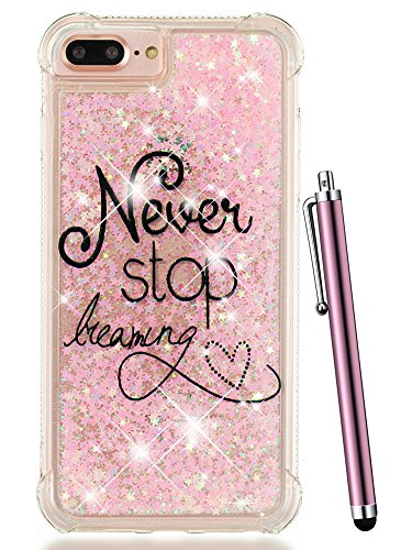 iPhone 7 Plus Case Glitter, iPhone 8 Plus Case for Women, iPhone 6S Plus/6 Plus Case,CAIYUNL Liquid Sparkle Bling Floating Clear Cute Luxury Silicone TPU Slim Cover Girls Kids&Stylus -Pink Never ()