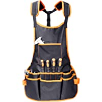 Toolwiz Professional Canvas Work Apron - 16 Tool Pockets, Fully Adjustable Workman Tool Organizer, Waterproof & Protective for Engineers Carpenters Handymen Crafts – Black
