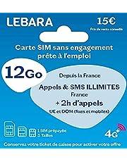 Lebara SIM-kaart + oproepen en SMS, 2 uur op 43 functies + 12 GB + 38 GB gratis