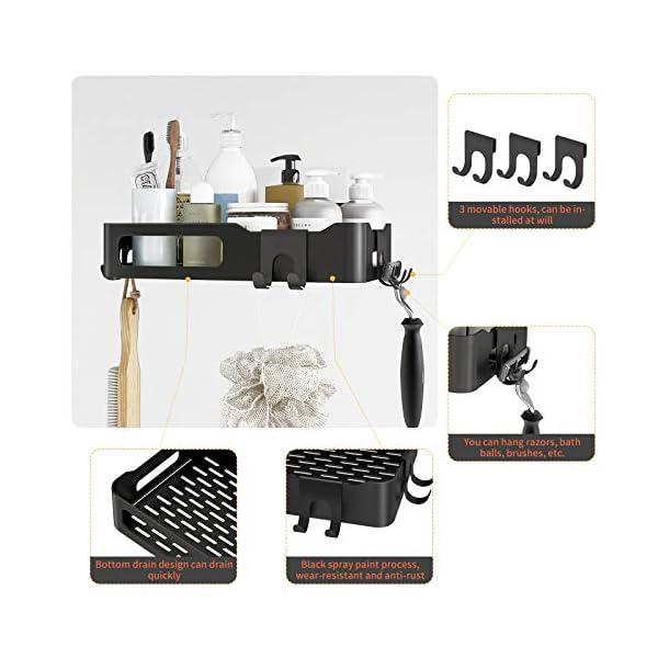 51cEmwG2uWL Duschkorb Duschregal schwarz Duschablage ohne Bohren, selbstklebend mit Haken aus Edelstahl Metall als Duschhalterung…