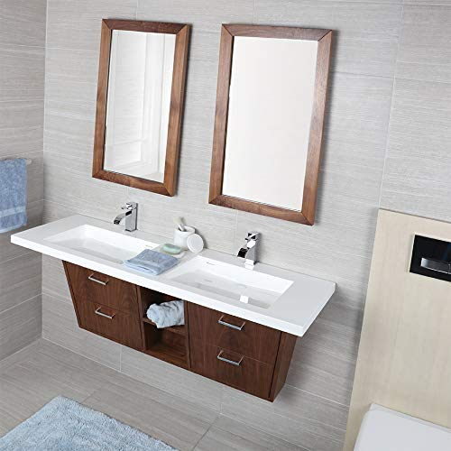 Wall-mount or vanity-top double lavatory made of solid surface with an overflow and decorative drain cover. It requires brackets for wall-mount installation. 01- one faucet hole. W: 56