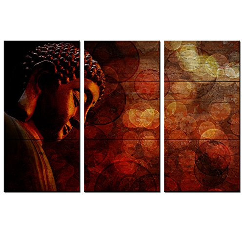 Buddha Canvas Painting,Large Triptych Merciful Buddha on Wood Background Canvas Prints,Religion Wall Art for Home Office Wall Decoration,Ready to Hang (Prints Canvas Triptych)