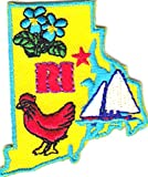 "[Single Count] Custom and Unique (2"" by 1 5/8"" Inches) US USA States ""RI"" Rhode Island State Shape With Flowers and Bird Iron On Embroidered Applique Patch {Yellow, Blue, Red, and Green Colors}"