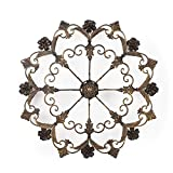 Asense Home Decorative Scrolled Wall Decor Round Fleur-de-Lis Starburst Design Metal Bronze