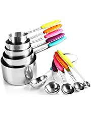 Zanmini Measuring Cups and Spoons Set of 10 Stainless Steel 2 Rings Silicone Handle Engraved Measurements for Dry and Liquid Ingredients Dishwasher Safe Cooking Baking Kitchen Gift for Friends Family