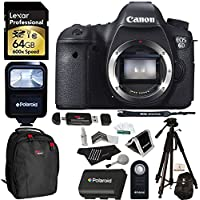 Canon EOS 6D 20.2 MP CMOS Digital SLR Camera Body + Lexar 64GB Memory Card + Ritz Gear Bag + Polaroid 72