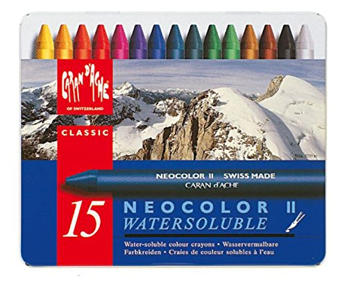 Price comparison product image Caran d'Ache Classic Neocolor II Water-Soluble Pastels, 15 Colors