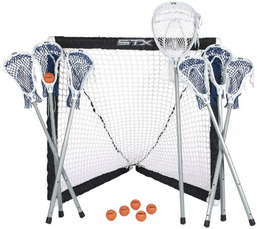 STX FiddleSTX Seven Player Game Set with Six Field Player Sticks One Goalie Stick Mini Goal and Balls ()