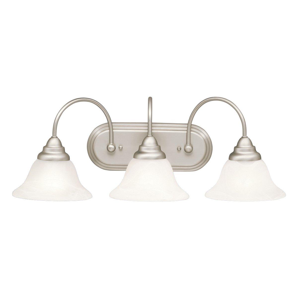 "Kichler 10609NI Bath Vanity Wall Lighting Fixtures, Brushed Nickel 3-Light (25"" W x 10"" H) 39 Watts"