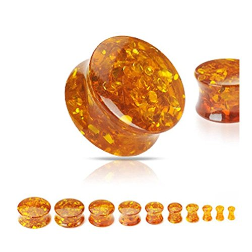 Inspiration Dezigns Synthetic Amber Solid Saddle Plugs - Sold as Pairs (6G)