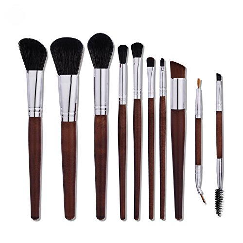 QERI 10 Pieces Makeup Brush Set Professional Make Up Brushes with Wood Handle Premium Synthetic Kabuki Foundation Blending Blush Concealer Eye Face Lip Brushes for Powder Liquid Cream