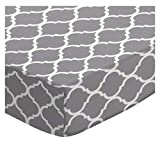 SheetWorld Fitted Pack N Play Sheet Fits Graco Square Playard 36 x 36 - Grey Large Quatrefoil - Made in USA
